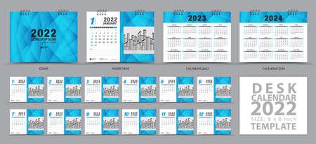 Desk calendar 2022 template and Calendar 2023, 2024 design, Set of 12 Months, Planner, Wall calendar artwork, Week starts on Sunday, Stationery, advertisement, Blue cover template, corporate template 向量圖像