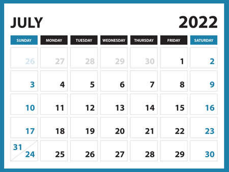 July 2022 Calendar Printable, Calendar 2022, planner design, Desk calendar template, Wall calendar, organizer office, Simple calendar, week starts on sunday, vector