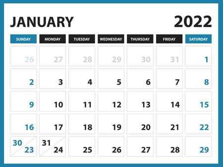 January 2022 Calendar Printable, Calendar 2022, planner design, Desk calendar template, Wall calendar, organizer office, Simple calendar, week starts on sunday, vector Vektorové ilustrace