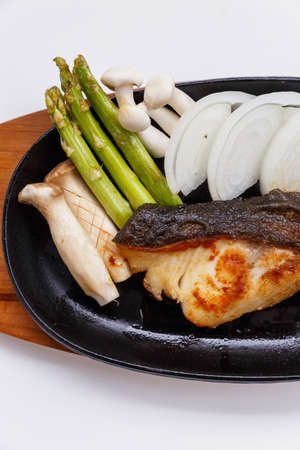 bluefish: Grilled Japanese Sablefish Steak with Mushroom, Asparagus, Sliced Onion and Carrot with Soy Sauce. Scallion Sauce and Mayonnaise.