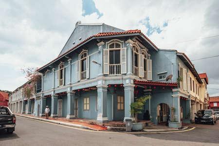 Blue old colonial style building in Melaka City, Melaka, Malaysia.