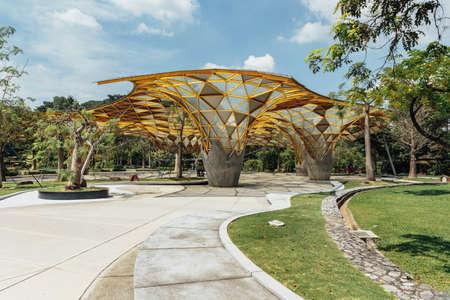 Diamond shape roof top detail of Garden pavilion in Kuala Lumpurs Perdana Botanical Gardens in Jalan Tembusu, Malaysia. Editorial