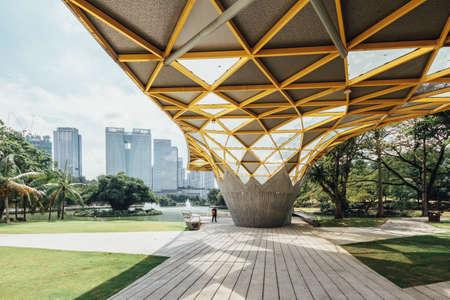 Cityscape that view from Garden pavilion in Kuala Lumpurs Perdana Botanical Gardens in Jalan Tembusu, Malaysia.