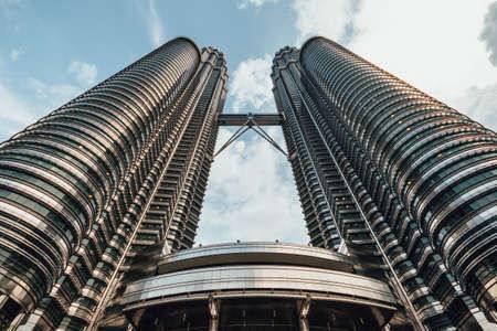 tallest bridge: Petronas twin towers viewed from below in Kuala Lumpur, Malaysia.