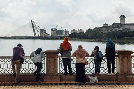 People were looking Seri Wawasan bridge from Putra Mosque in Wilayah Persekutuan Putrajaya, Malaysia