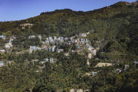 mountainous: Villages and houses on the mountain in Sikkim, India.
