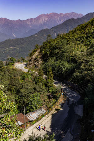S curve road to Brown mountain near Kangchenjunga mountain that view in the morning in Sikkim, India