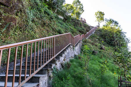 Stairway to observation area to see Kangchenjunga mountain in Sikkim, India. Stock Photo