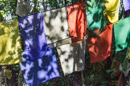 Tibetan Buddhist Prayer Flag include red, green, yellow, blue and white colors in Sikkim, India.