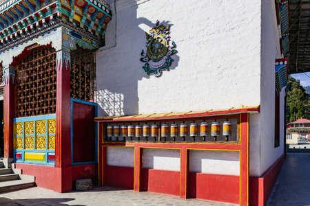Tibetan bells in front of Tibetan Buddhism Temple entrance in Sikkim, India.