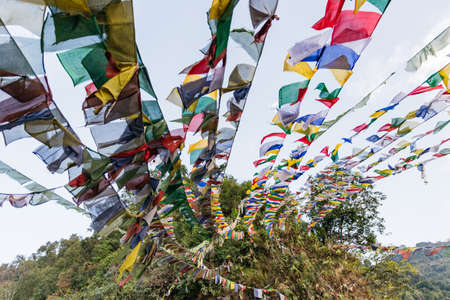 Tibetan Buddhist Prayer Flag include red, green, yellow, blue and white colors in North Sikkim, India.