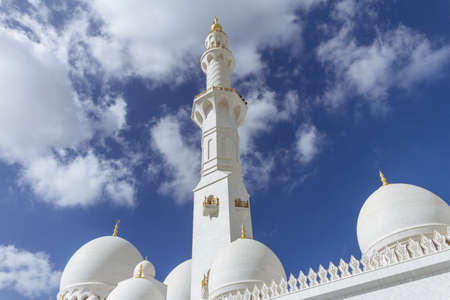 Marble pillar with domes of Sheikh Zayed Grand Mosque with blue sky in the morning at Abu Dhabi, UAE. Editorial