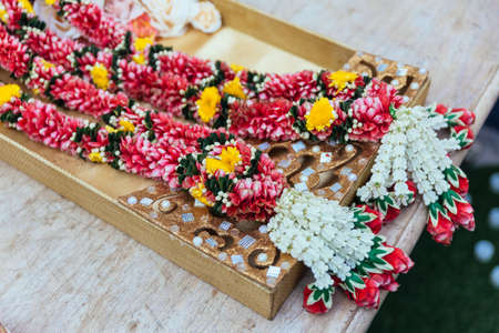 Flower garlands for Indian wedding ceremony in Bangkok, Thailand.