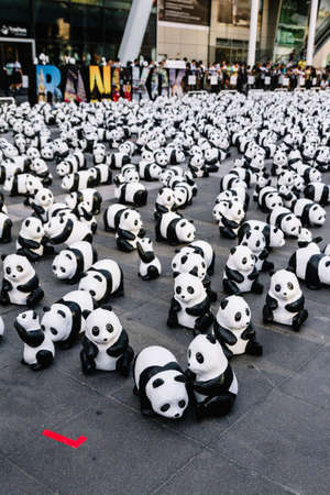 Many panda sculptures view from above that place on the floor is an art exhibition in Bangkok, Thailand. Editorial