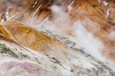 登別地獄谷) の詳細を閉じる: 火山渓谷におい硫酸、非常に高い熱と北海道の地面から噴出する蒸気からその名前を得た。