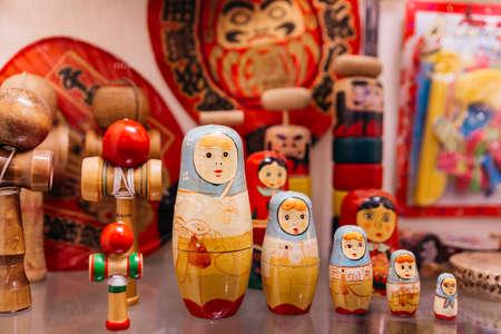 Wooden Matryoshka doll display in museum of Shiroi Koibito Park at Sapporo in Hokaido, Japan.