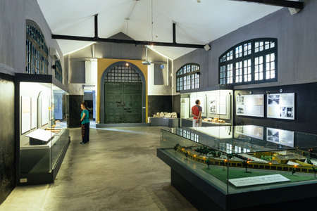 Hoa Lo Prison Museum interior that exhibit old things and information of this prison in Hanoi, Vietnam.
