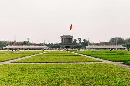 Ho Chi Minh Mausoleum with rectangle green fields in the front at Hanoi, Vietnam.