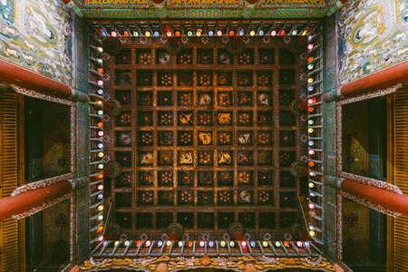Decorated ceiling of Yakcheonsa Temple. Jeju, South Korea. Stock Photo
