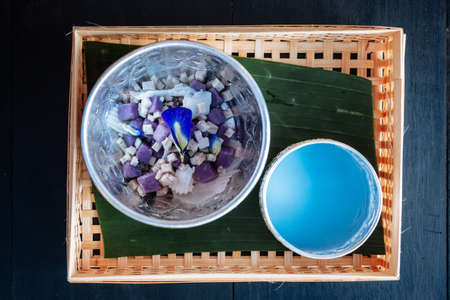 Taro Dumplings in coconut cream mix with butterfly pea, Bua Loi, Dessert of Thailand.