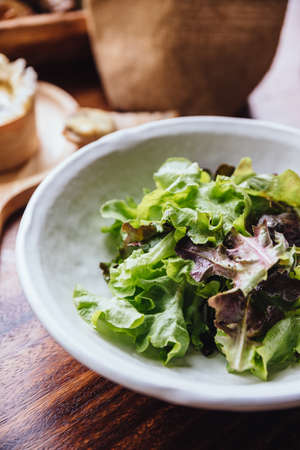 Green oak salad eating with Brie cheese on wooden board served and fresh baked sliced bread. Stock Photo