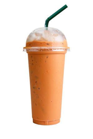 Isolated Front View of Iced Thai Tea in plastic cup with plastic cap and straw. Studio shot.