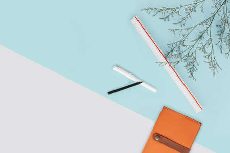 Mint green and white color background with flower branches and scale ruler, pencil, pen and notebook the right side. Architect and designer background with copy space. Standard-Bild - 122493909