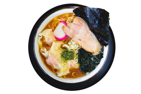 Isolated top view of Ramen Pork Bone Soup (Tonkotsu Ramen) with Chashu Pork, Scallion, Wanton, Menma (Seasoned Bamboo Shoots), Dried Seaweed. Standard-Bild - 123194363