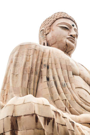 Daibutsu, The Great Buddha Statue in meditation pose or Dhyana Mudra seated on a lotus in open air near Mahabodhi Temple at Bodh Gaya, Bihar, India