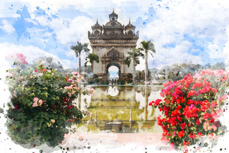 Watercolor painting of Patuxai Victory Gate with pink Bougainvillea in foreground, Destination Scenic of Vientiane, Laos.