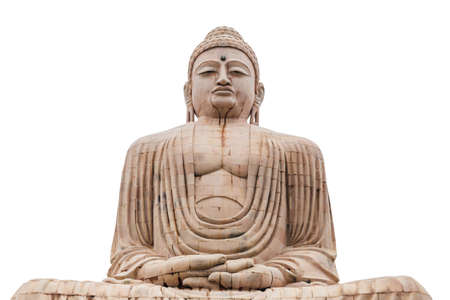 Isolated Daibutsu, The Great Buddha Statue in meditation pose or Dhyana Mudra seated on a lotus in open air near Mahabodhi Temple at Bodh Gaya, Bihar, India. Stock Photo - 130149409