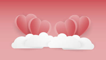 Folded heart shapes floating over the cloud with gradient pink Ilustrace
