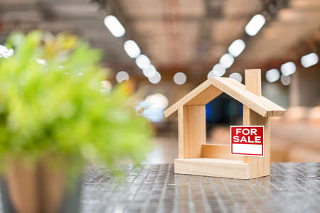 Miniature wooden houses with For Sale sticker and blur green plants in the foreground. Buying the first dream house with a young family. Affordable and Eco housing business.