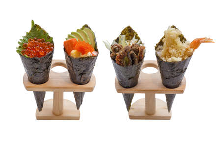 Ikura (Salmon Roe), Kani with Avocado, Tamago Yaki (Japanese Fried Egg) and Ebiko (Prawn Egg) with Fried Shirauo and Tempura California or Temaki Sushi Hand Roll on Wood Stand.
