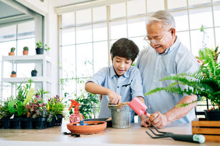 Asian retirement grandfather and his grandson spending quality time together insulated at home. Enjoy taking care of plants, watering. Family bonding between old and young. Concept of quarantine. Zdjęcie Seryjne