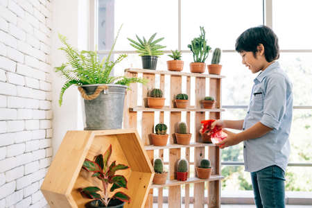 An Asian male kid enjoys taking care of the plants by watering by water sprayer in an indoor houseplant at home. Studying by play activities. Child leisure and lifestyle. 免版税图像