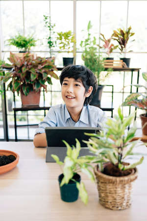 Asian male kid using tablet pc computer studying about planting during his online lesson at home, self-learning to plant with shovel and soil. Distance learning, homeschooling concept.