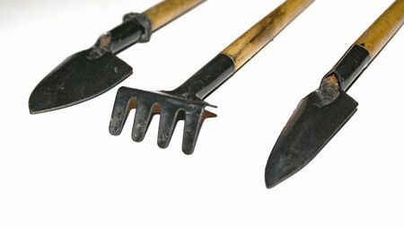Garden tools isolated on white background