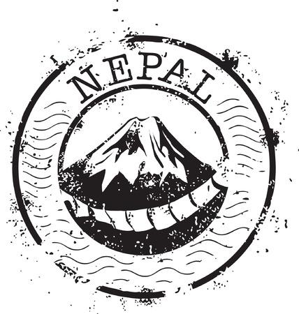 everest:  Stamp of Mount Everest, Nepal Illustration