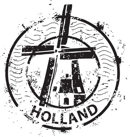 Sello de molino de viento en Holanda Ilustración de vector