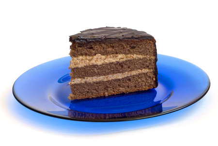 chocolate cake on blue plate