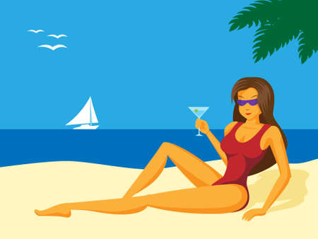 sunbathe: illustration of sexy girl on the beach