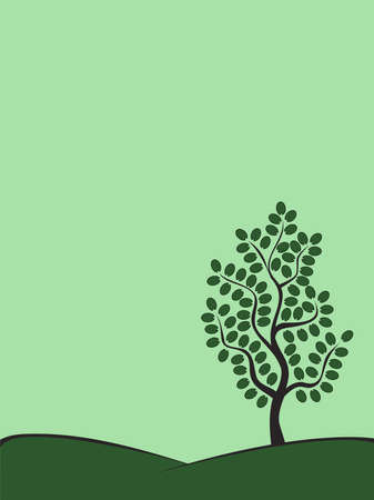 green tree on a hill Stock Vector - 10400124