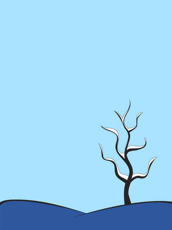 snow tree on a hill Stock Vector - 10400123