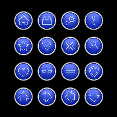 dark blue web icons isolated on black  Vector