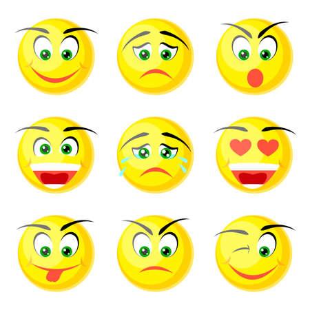caras tristes: iconos amarillos sonrisa aislados en blanco Vectores