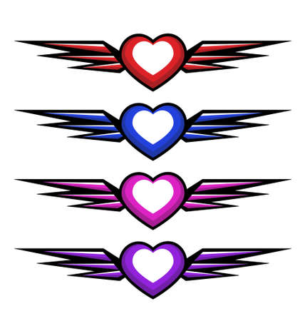 style hearts with wings in different colours. isolated on white