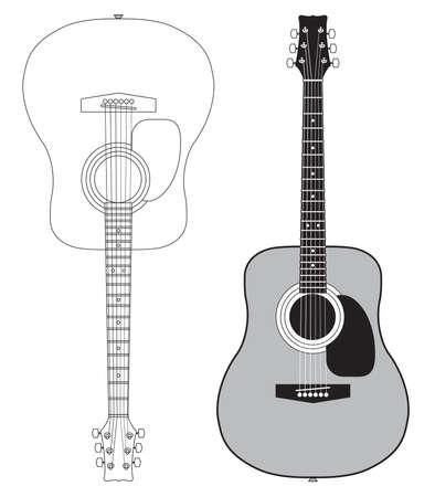guitarra acustica: guitarra ac�stica sobre fondo blanco Vectores