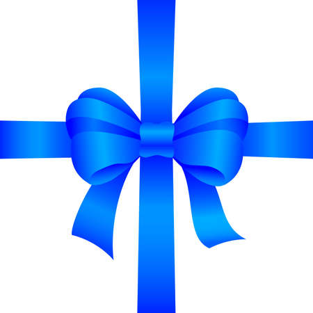 blue gift bow on white background Stock Vector - 10429194