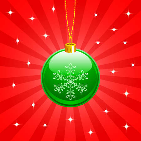 green christmas ball on red background Vector